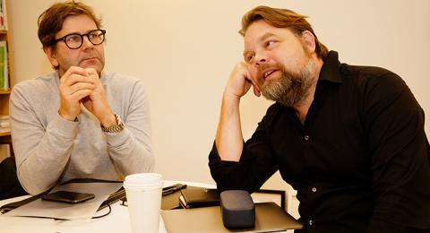 Thomas Olsson och Martin Kaunitz på förlaget Kaunitz-Olsson som tagit initiativ till Stockholms bokhelg.